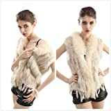 Womens Rabbit Fur Vest Real Natural Knitted Jackets Raccoon Fur Collar for Girls