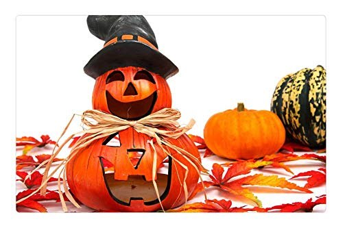 Tree26 Indoor Floor Rug/Mat (23.6 x 15.7 Inch) - Autumn Decoration Face Fall Funny Gourd Halloween 3 ()
