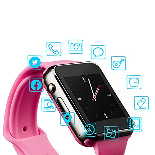 Smart Watch Color Touch Screen Bluetooth Smart Watch Sports Smart Watch TF/SIM Card Slot Smart Watch Multi Function Smart Watch Compatible with Samsung Android iPhone iOS Kids Women Men - Pink Watch Player Ladies
