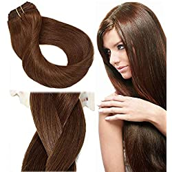 Clip In Hair Extensions Human Hair New Version Thickened Double Weft Brazilian Hair 120g 7pcs Per Set 9A Remy Hair Medium Brown Full Head Silky Straight 100% Human Hair Clip In Extensions(18 Inch #4)