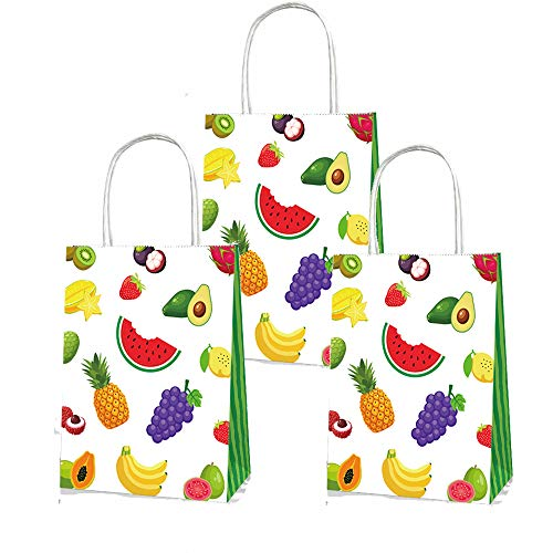 LJCL Tutti Frutti Birthday Party Supplies,Summer Pineapple Party Favor Bags 12 Packs,Strawberry Watermelon Treat Gift Bags,Twotti FruityCandy Goodies Bags,Tropical Hawaiian Luau Party Decor ()