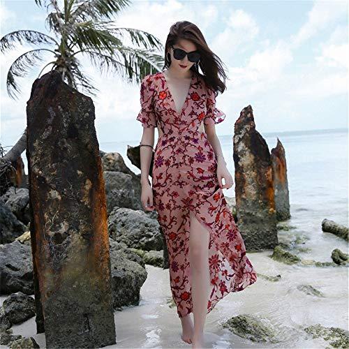 La De Las Manga Jacquard Bohemio Vestido Floral Pleated Playa Design Larga Escote En V Boho Profundo Vendimia Verano Mujeres Corta Con 8ggdxqSw