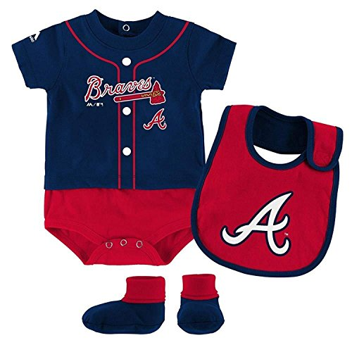Atlanta Braves Red Navy Blue Infant Tiny Player Creeper Bib & Bootie Set (24 Months)