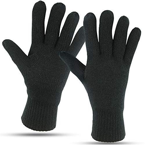 Winter Gloves For Men: Mens Cold Weather Snow Glove: Men's Knit Thinsulate Thermal Insulation Black