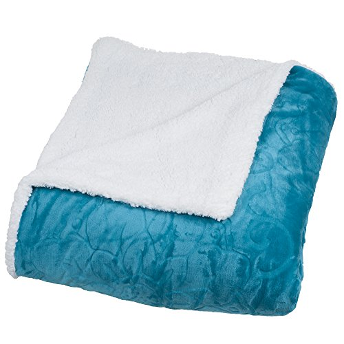 Bedford Home Floral Etched Fleece Blanket with Sherpa, Full/Queen, Teal (Sherpa House)