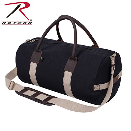 Rothco 19'' Canvas & Leather Gym Bag, Black by Rothco