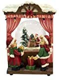 MusicBox Kingdom 53109 Window Snow Globe Music Box, Plays The Melody ''Santa Claus is Coming to Town''