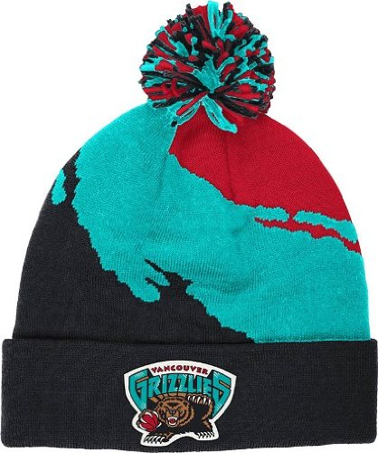 (Mitchell & Ness Vancover Grizzlies Cuff Knit Black - Red- Teal )