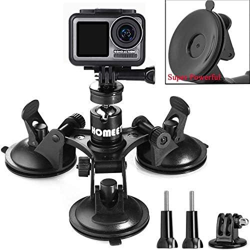 Solustre Doppio Supporto a Ventosa Staffa per Videocamera per Auto Supporto per Videocamera per Gopro Dji Sjcam Guida Registratore Nero