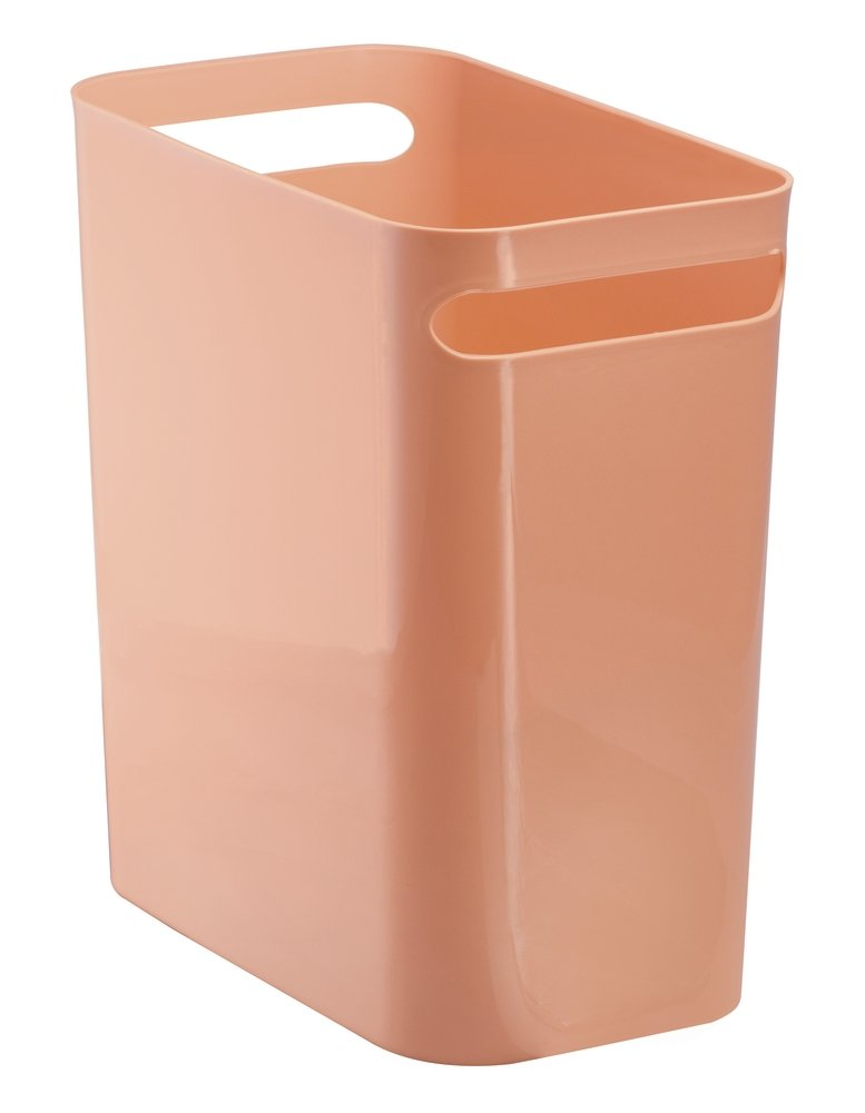mDesign Slim Rectangular Small Trash Can Wastebasket, Garbage Container Bin with Handles for Bathrooms, Kitchens, Home Offices, Dorms, Kids Rooms — 12 inch high, Shatter-Resistant Plastic, Coral