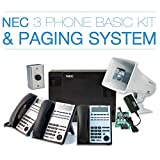 NEC SL1100 3 Phone Kit with 2-Way Intercom/Paging System for Warehouse Auto Shop Office Restaurant etc.