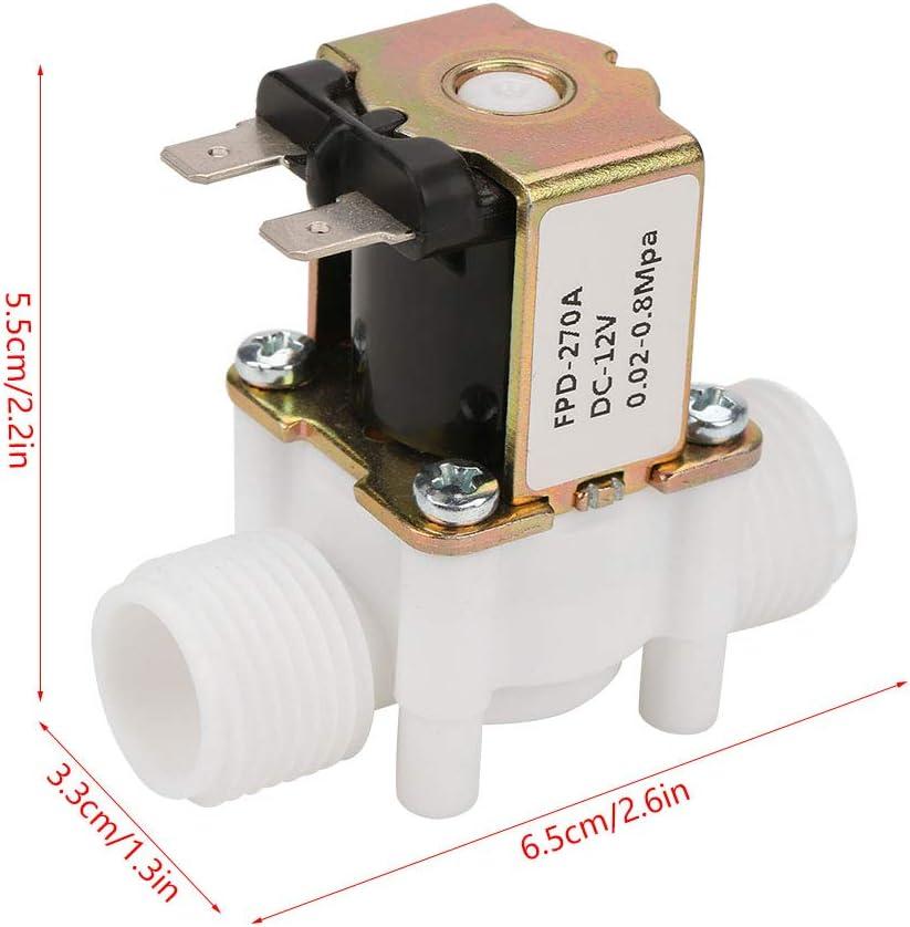 MAGT Wassermagnetventil DC 12V DN15 G1//2 Elektromagnetisches Kunststoffventil Normalerweise geschlossenes Wassereinlassschalter Elektrisches Magnetventil