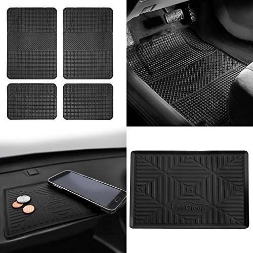 (FH Group F11300 Anti-Slip Modern Checker Style All Weather Auto Floor Mats + FH3011 Silicone Anti-Slip Dash Mat, Black-Fit Most Car, Truck, SUV, or Van)