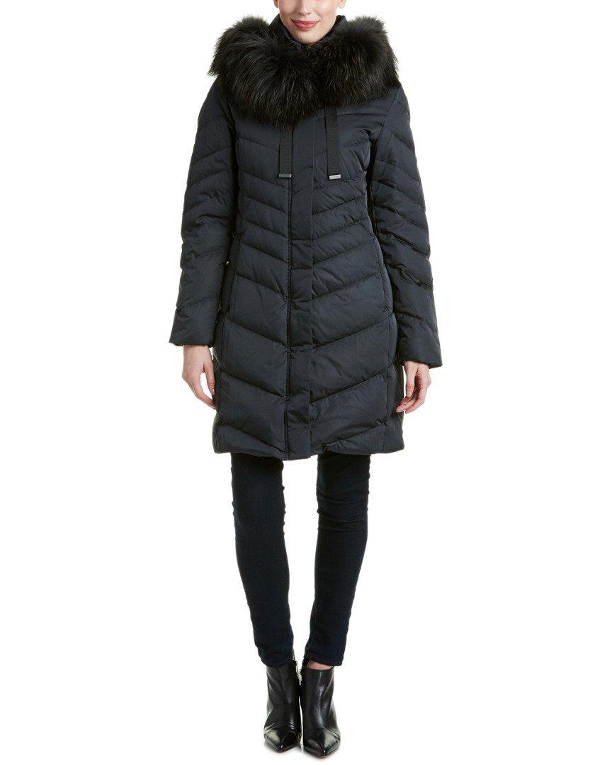 Elie Tahari Womens Jaime Down Coat, L, Black