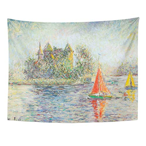 l Hanging Pissarro Pisarro Canvas Painting Fine French Impressionist Impressionism Artist Polyester Fabric Home Decor Tapestries for Living Room Bedroom Dorm 60x80 Inches (French Impressionism Painting)