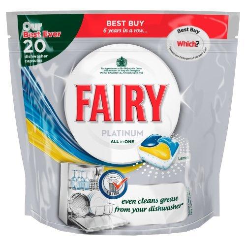 Fairy Platinum All In One Lemon Dishwashing Tablets (Pack of 20) (Fairy Dishwashing)