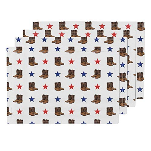 Boots 4pc Linen Cotton Canvas Cloth Placemat Set - Cowgirl Boot Country America Cowboy Boots Boots Texas Stars All American Southern Cowgirl by Littlearrowdesign (Set of 4) 13 x 19in
