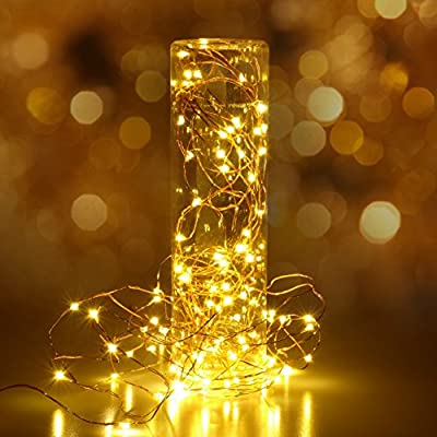 HSicily LED USB String Lights 8 Modes 33Ft 100 LEDs Starry Fairy Lights Plug in Remote Control with Timer for Wedding Christmas Party Bedroom Indoor Outdoor Decorative