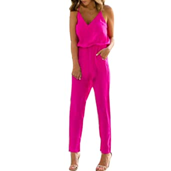 Damen Overall,Sannysis Frauen Riemchen V-Ausschnitt Pocket Playsuit Bodycon  Party Clubwear Jumpsuit  24478451eb