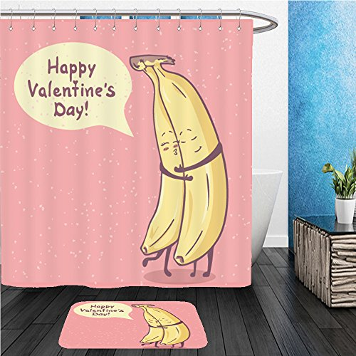 Beshowereb Bath Suit: ShowerCurtian & Doormat cute unusual hand drawn valentines day card with funny cartoon character of banana and hand written - Character Cartoon Otto
