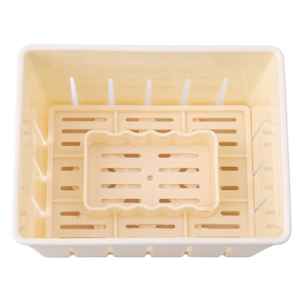 BESTONZON Tofu Maker Press Mold Kit Plastic Tofu Cheese Making Mold DIY Pressing Mould Kitchen Tool (Yellow)
