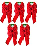Pack of 10 Christmas Red Velvet Bows 9-inch X 16-inch By Blue Green Novelty