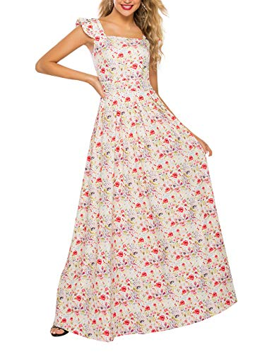 Simple Flavor Women's Sleeveless Floral Maxi Dress Casual Summer Long Dress (0686Beige,XL)