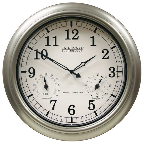 La Crosse Technology WT-3181PL Atomic Outdoor Clock with Temperature & Humidity-18 inch