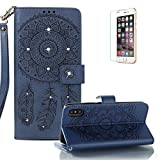 Funyye Shiny Sparkle Case for iPhone X/iPhone XS 5.8 inch[with Free Screen Protector],Stylish [3D Shine Diamond Wind Chime] Magnetic Closure Wallet Case with Credit Card Holder Ultra Thin Soft Silicone PU Leather Stand Function Smart Flip Case for iPhone X/iPhone XS 5.8 inch,Dark Blue