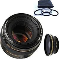 Canon 50mm 1.4 Portrait Lens + 4pc Macro Lenses Set (+1 +2 +4 +10) + High Definition Wide Angle Auxiliary Lens