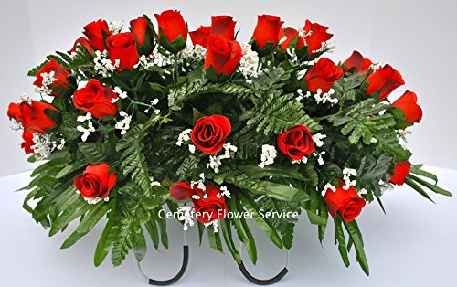 (Cemetery Flowers for Grave Decoration with Red Rose Buds and Baby's Breath made into a Saddle Arrangement for Headstones)
