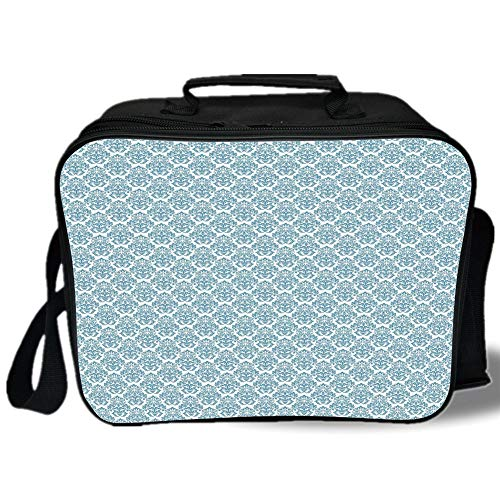 Abstract Damask Pearl - Damask 3D Print Insulated Lunch Bag,Soft Abstract Damask Motif with Middle Eastern Inspirations Symmetrical Design,for Work/School/Picnic,Pale Blue White