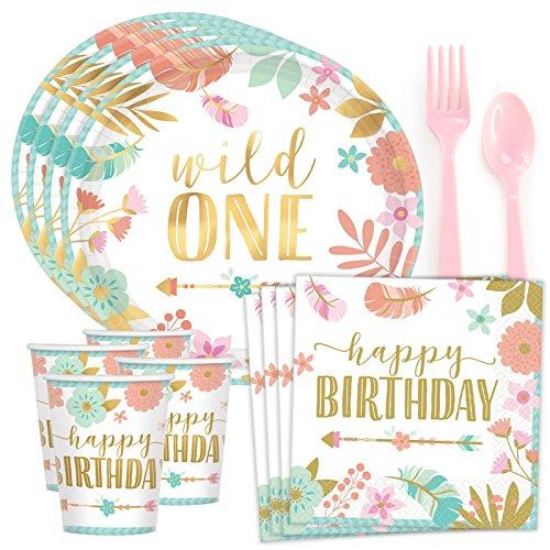 Costume SuperCenter Boho 1st Birthday Girl Standard Tableware Kit (Serves -