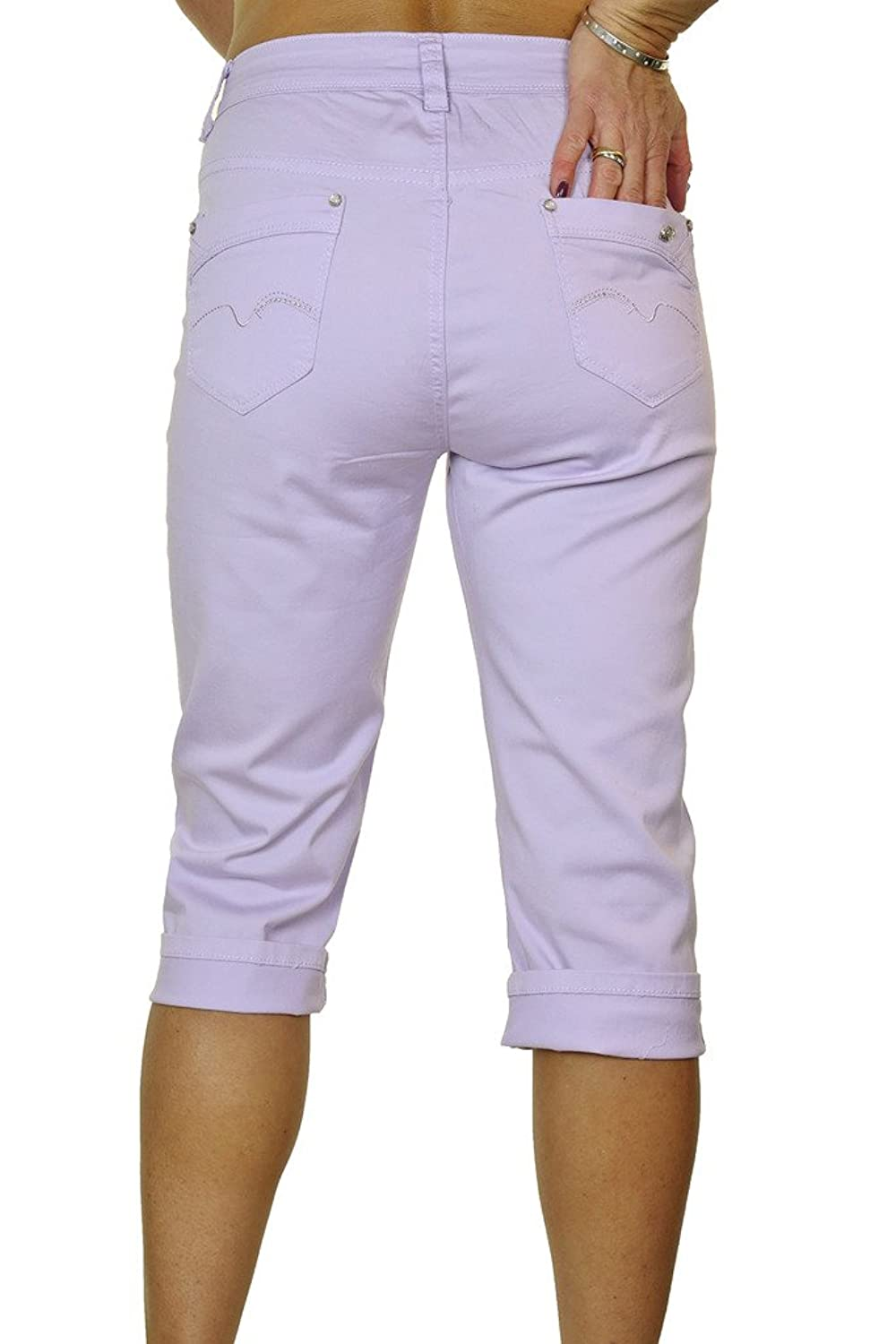 (1442-3) Plus Size Stretch 3/4 Cropped Capri Jeans Light Purple