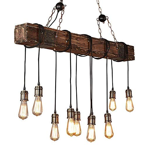 KJLARS Farmhouse Chandelier Wood Hanging Industrial Pendant Lighting Vintage Ceiling Light Fixture 10 Light for Pool Table Kitchen Island Bar Retro Hanging Lamp (43.31 inches)