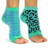 Freetoes Toeless Socks-2 Pairs 1-Teal Leopard, Teal Houndstoothi
