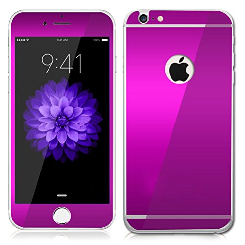 Dreams Mall(TM)Electroplating Mirror Effect Tempered Glass Screen Protector Film Decal Skin Sticker for Apple iPhone 6 4.7 inch-Purple (Film Screen Mirror)