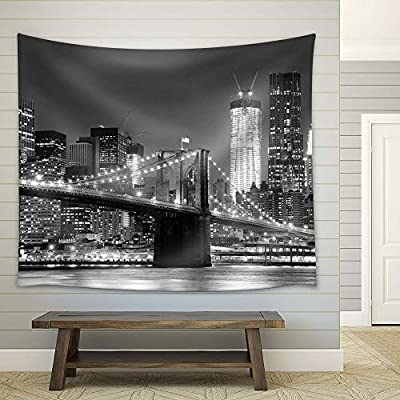 New York City Brooklyn Bridge in Black and White - Fabric Tapestry, Home Decor - 68x80 inches