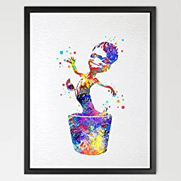 Dignovel Studios 8X10 Groot Baby Guardians of the Galaxy Inspired Watercolor Art Print Wall Art Hanging Home Decor Nursery Kids N174