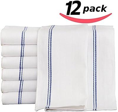 Utopia Towels 12 Premium Cotton Kitchen Dish Towels 24 oz Side Stripe