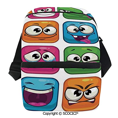 (SCOCICI Reusable Insulated Grocery Bags Square Cartoon Decor for Children Smiley Face Expression Monster Comic Avatar Thermal Cooler Waterproof Zipper Closure Keeps Food Hot Or Cold)