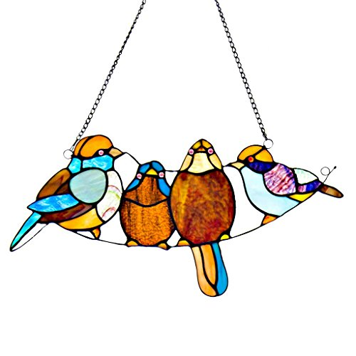 stained glass birds window panel - 7