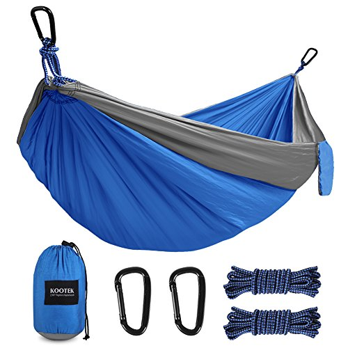 Kootek Camping Hammock Portable Indoor Outdoor Tree Hammock with 2 Hanging Straps, Lightweight Nylon Parachute Hammocks for Backpacking Travel Beach Backyard Hiking (Single) by Kootek