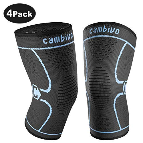 CAMBIVO 2 Pack Knee Brace, Knee Compression Sleeve Support for Running, Arthritis, ACL, Meniscus Tear, Sports, Joint Pain Relief and Injury Recovery from CAMBIVO