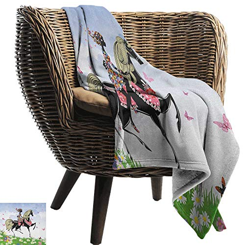 AndyTours Swaddle Blanket,Horse Lunarable, Floral Girl Riding Pony in Fantasy Spring Field Butterflies Daisies Girls Room Print, Multicolor,Lightweight Extra Soft Skin Fabric,Not Allergic 60