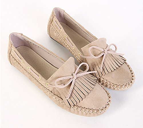 Easemax Womens Fashion Round Toe Casual Slip On Bowknot Flats Shoes with Tassels Apricot zEOPfVI8i