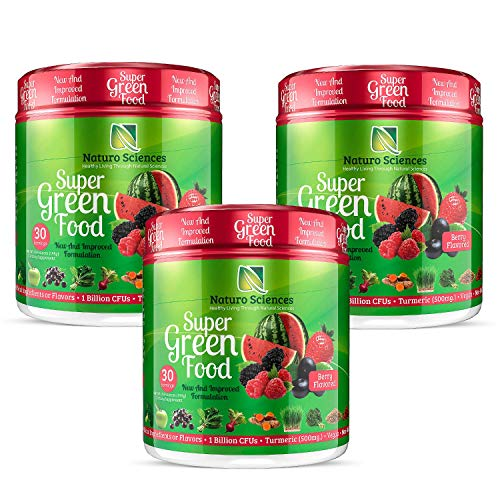 100% Natural Greens Powder| 10+ Hard to Get Superfoods| Greens Supplement Powder 1 Month's Supply| Green Organic Blend with 1 Billion CFU Probiotics + 500mg Turmeric,Berry Flavor, Pack of Three