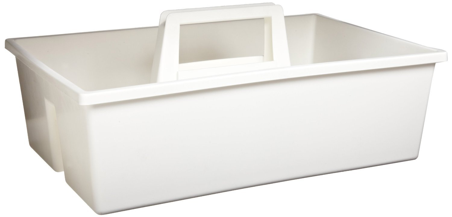 PSC 1007179 Laboratory Utility Carrier Tray, Polypropylene, 378 mm Length x 241 mm Width x 114 mm Height, White