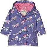 Image of Hatley Little Girls' Cotton Coated Raincoat, Floral Horses, 5