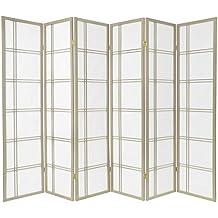 Oriental Furniture 6-Feet Double Cross Japanese Shoji Folding Privacy Screen Room Divider, 6 Panel Grey